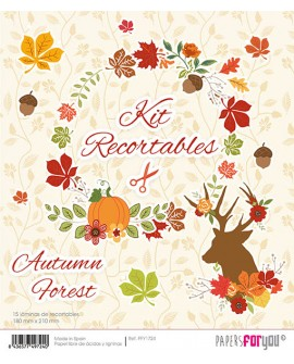 KIT RECORTABLES 15 PAPELES AUTUMN FOREST