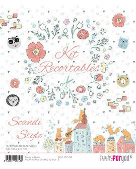 KIT RECORTABLES 15 PAPELES SCANDI STYLE
