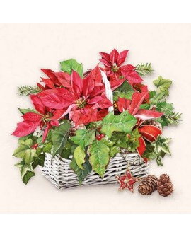 SERVILLETAS Poinsettia In Basket