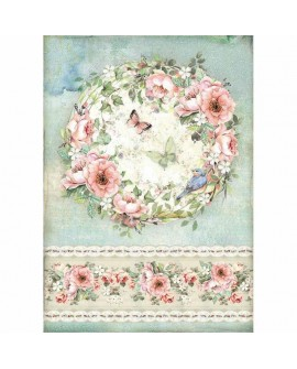 Papel de arroz A4 HOUSE OF ROSES DFSA4445 STAMPERIA
