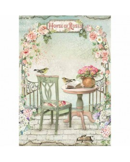 Papel de arroz A4 HOUSE OF ROSES DFSA4449 STAMPERIA