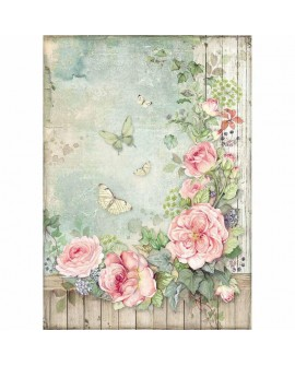 Papel de arroz A4 HOUSE OF ROSES DFSA4450 STAMPERIA