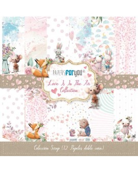 COLECCIÓN SCRAP PAPERS FOR YOU 12 PAPELES LOVE IS IN THE AIR