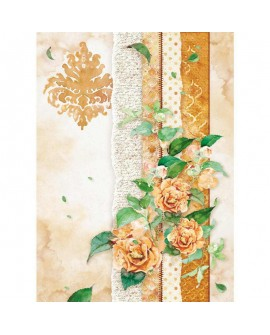 Papel De Arroz Stamperia A4 Flowers for you Ocre