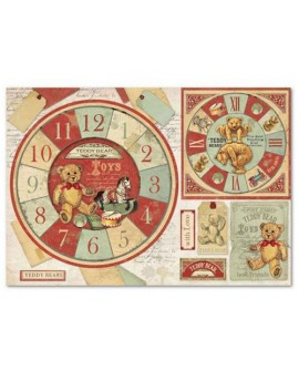 Papel de Arroz cm 48x33 Teddy Bear watch