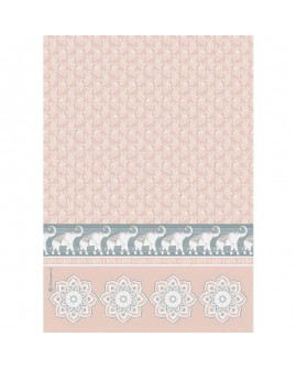 Papel de arroz A4 Elephants pink background DFSA4464 STAMPERIA