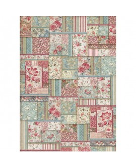 PAPEL DE ARROZ A3 Flower patchwork DFSA3038 STAMPERIA