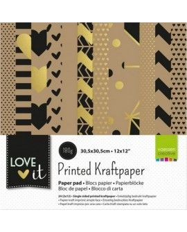 "Vaessen Creative Love It kraft paper 12x12"" 2x12 sheets single sided"