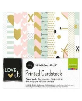 "Vaessen Creative Love It cardstock 12x12"" 2x12 sheets double sided"