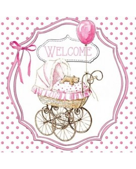 Servilletas decoupage Welcome Pink