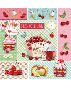 Servilletas decoupage Welcome Red Cherries