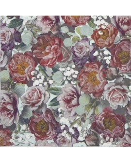 Servilletas decoupage Vintage Flowers Green