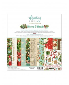 Set Scrapbooking MERRY AND BRIGHT Mintay by Karola 30x30 cm