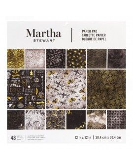 "Martha Stewart paper pad 12x12"" 24x2 pieces black & gold"
