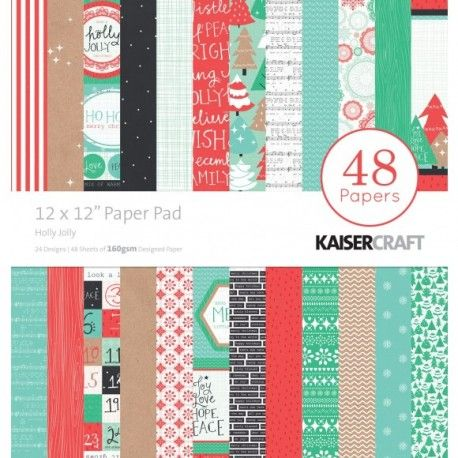 Kaisercraft Holly jolly paper pad 12x12""