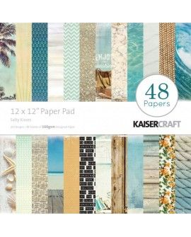 """Kaisercraft sandy toes paper pad 12x12"""" salty kisses"""
