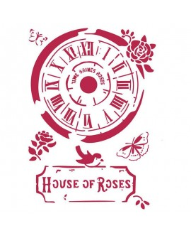 STENCIL Reloj House of Roses 21x29,7 cm STAMPERIA
