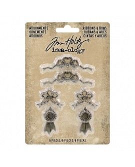 Tim Holtz adornments ribbons & bows x6