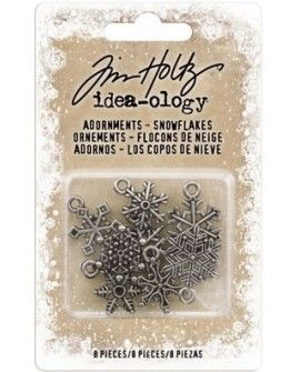 Tim Holtz adornments snowflakes x8