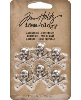 Tim Holtz adornments crossbones x6