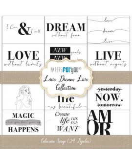 COLECCIÓN SCRAP PAPERS FOR YOU LOVE DREAM LIVE 24 PAPELES + 2 RECORTABLES