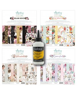 Pack 4 colecciones scrap Mintay GRACEFUL+GLAM ROCK+FLORABELLA+CHILDHOOD