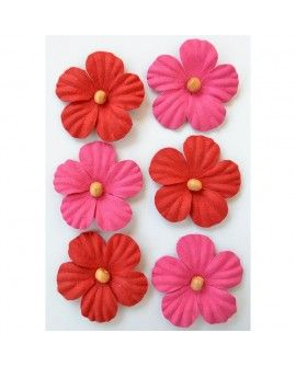 Creative elements beaded blooms x6 cerise pink