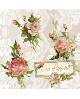 SERVILLETAS Roses On Lace