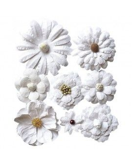Creative elements white range antique fusion flowers x8