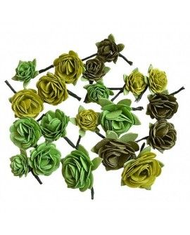 Creative elements handmade paper rose hill x20 green