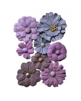 Creative elements handmade paper symphony flowers x8 purple