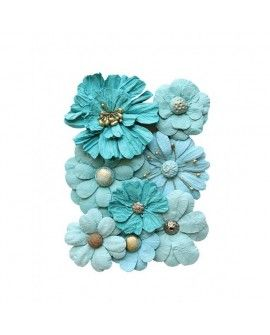 Creative elements handmade paper symphony flowers x8 blue