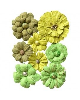 Creative elements handmade paper symphony flowers x8 green