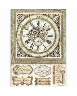Papel de arroz A4 Packed Lady Vagabond clock with mechanisms STAMPERIA