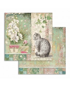 Bloc Scrap Orchids and Cats 10 hojas 30x30 cm STAMPERIA