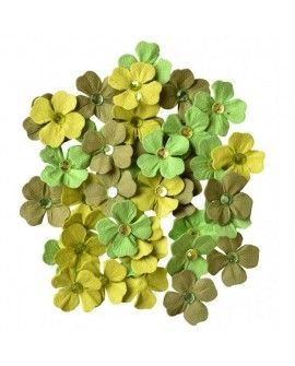 Creative elements handmade paper jewelled petals x40 green
