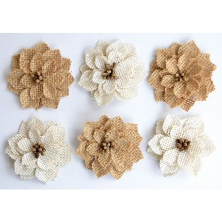 Creative elements burlap pollen poinsettia x6