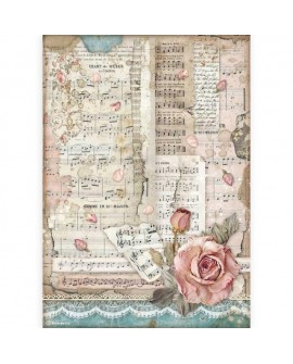 PAPEL DE ARROZ A4 Passion rose e musica STAMPERIA