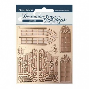 DECORATIVE CHIPS 14X14 CM - Sleeping Beauty Window and Doors STAMPERIA