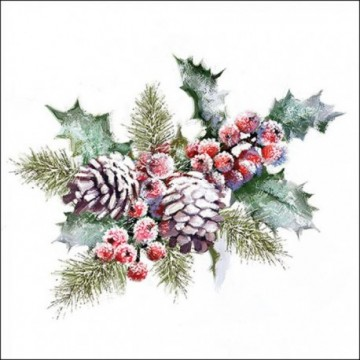 SERVILLETAS DECOUPAGE Holly And Berries