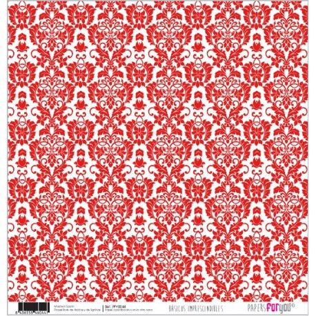 PAPEL SCRAP ARABESCO ROJO Y RAYAS PFY-044