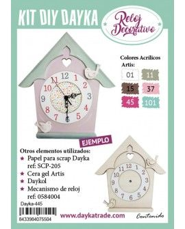 KIT DIY DAYKA RELOJ CASITA PAJAROS