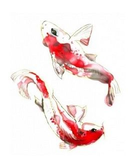 Transfer TELA Watercolor 25x35 CARPAS KOI