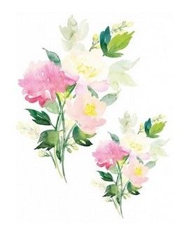 Transfer TELA Watercolor 25x35 FLORES