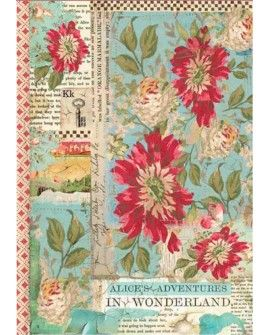 PAPEL DE ARROZ A4 ALICE RED FLOWER