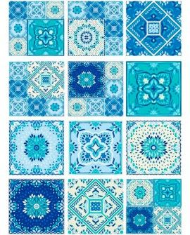 Papel arroz Cadence A3 TILES BALDOSAS AZUL MIX
