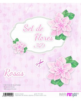 KIT RECORTABLES 8 ROSAS 3D