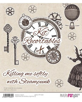 KIT RECORTABLES 15 PAPELES KILLING ME SOFTLY WITH STEAMPUNK