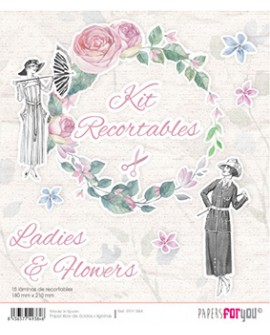 KIT RECORTABLES 15 PAPELES LADIES & FLOWERS
