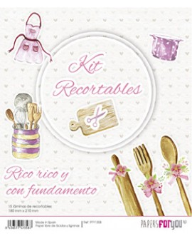 KIT RECORTABLES 15 PAPELES RICO RICO Y CON FUNDAMENTO